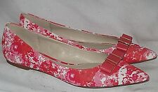 "Saffiano Pink/Hibiscus Coated Leather COACH ""WARWICK"" Bow Pointed Toe Flats 10 B"