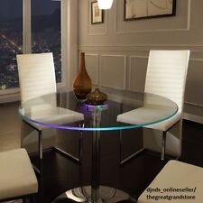 LED Dining Table Round Large Glass Modern Lights Living Kitchen Room Furniture