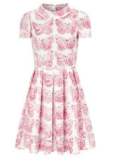 New VALENTINO Red Butterfly Print White Pink Flare Dress 40