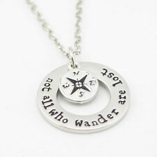 Hand Stamped Not All Who Wander Are Lost Pendant Necklace Chain Gift Xmas UK