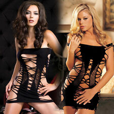 Fishnet Babydoll Dress Set Sexy Lingerie Underwear open crotch BODYSTOCKING 6-10