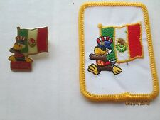Vintage 1984 Mexico Flag & Sam The Eagle Patch Coca Cola Coke Olympic  Pin