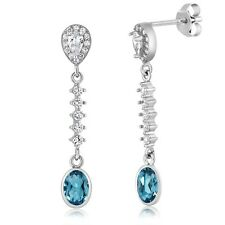 5.00 Ct Oval London Blue Topaz 925 Sterling Silver 1.5 Inch Dangle Earrings