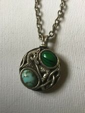 Vintage Miracle Pendant Necklace Scottish Celtic, Agate Style Blue Glass