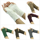 Women Winter Crochet Arm Warmer Elbow Long Fingerless Mitten Knited Soft Gloves