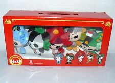 BEIJING COLLECTIBLE MASCOT PLUSH KEY RING SET OF 5 SOFT KEYCHAIN