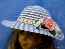 "PINK & WHITE Roses Brimmed DOLL Easter HAT fits 18"" AMERICAN GIRL Doll Clothes"