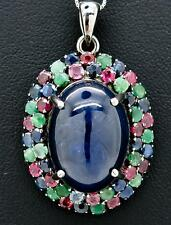 High End 30.00ctw Genuine Sapphire, Emerald & Ruby Black Sterling Silver Pendant