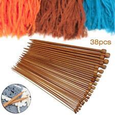 18 Taille 36pc carbonisé Bamboo monopoint Aiguilles à tricoter Lisser Crochet EH