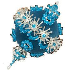 """Kit makes 3 """"Firefly"""" Ornaments Sequin Beads Craft Turquoise & Silver"""