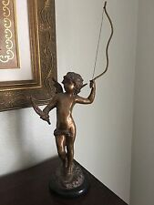 Antique Bronze Angel Statue with Bow