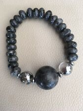 Gorgeously Chunky Striking Grey Larvikite & Silver Quartz Stretch Bracelet