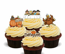 Happy Thanksgiving - Edible Cup Cake Toppers, Standup Fairy Bun Decorations