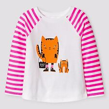 New ! Cat & Jack Toddler Girls' Halloween Cat Long Sleeve Shirt White Size 4T