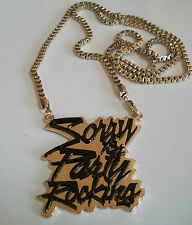 Black/Gold finish  Fashion Hip Hop Sorry For Party Rocking  pendant/40 '' chain