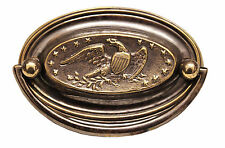 """3.5"""" Solid Brass Oval Handle (Eagle and Stars) 9533A/A"""