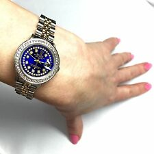 28mm ROLEX OYSTER PERPETUAL DATEJUST 2 Tone Ladies Watch w/ Diamonds & Blue Dia
