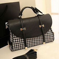 NEW Womens Briefcase Houndstooth Tote Handbag Shoulder Crossbody Messenger Bag