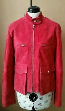 Ladies Velvety Red Real Suede Leather Biker's Style Jacket Size S