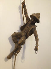 Hanging Mountain Climber Figure with Rope & Ring Loop for Lamp - German / Swiss