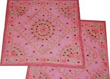 2* NEW 40CM BURGUNDY EMBROIDERED MIRRORS CUSHION COVERS INDIA