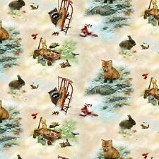 Fat Quarter Old World Christmas Toys Forest Animals 100% Cotton Quilting Fabric