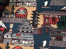 Japanese Village and Daruma Cotton Fabric