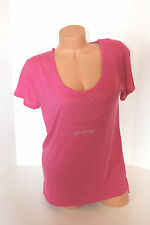 T-Shirt ARIZONA Pink Cap Sleeve Slub Sheer Scoop Neck   SZ L Large NWT NEW