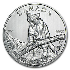 2012 1 oz Silver Canadian Cougar Coin - Wildlife Series