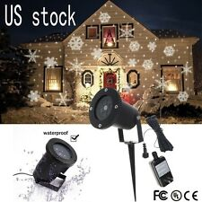US Outdoor Moving Snowflake Landscape Laser Projector Lamp Xmas Garden LED Light