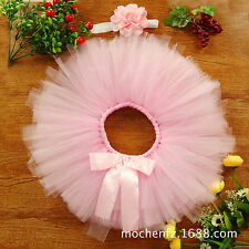 Baby Girls Headdress Flower+Tutu Clothes Skirt Photo Prop Costume Outfit Cute