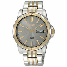 SEIKO SOLAR CHARCOAL DIAL DAY & DATE TWO-TONE ST. STEEL MEN'S WATCH SNE098 NEW