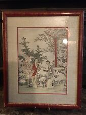 Vintage Old Japanese or Chinese Painting Framed Under Glass