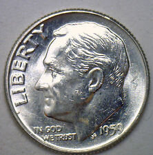 1959 Silver UNCIRCULATED BU Roosevelt Dime Ten Cent Coin from Nice 10c Roll #R
