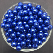Wholesale 50PCS 8mm Blue Acrylic Round Pearl Spacer Loose Beads Jewelry Making
