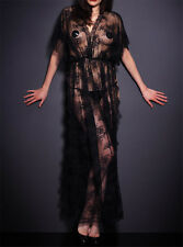 Womens Evening Black Sheer Lace Robe Dress with Thong Sexy Summer Gown Clubwear