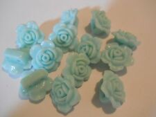 17 AQUA RESIN ROSE FLOWER 18m 2 HOLE SLIDER SPACER BEAD BAR CHARM BRACELET