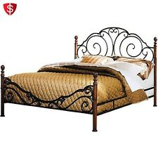 Metal Queen Size Bed Frame With Headboard Footboard Cast Iron Bedroom Furniture