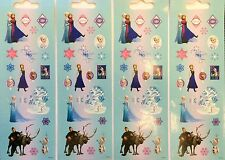 4 Strips Disney Princess Frozen Elsa Anna Olaf Stickers Party Favors