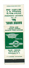 CADILLAC OLDMOBILE BARRIE BROS NEW YORK MATCHBOX LABEL ANNI '50 CARS AMERICA