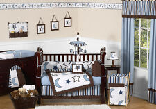 CELESTIAL BLUE AND WHITE STAR MOON THEMED 9p BABY BOY CRIB BEDDING COMFORTER SET