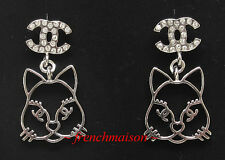 AUTHENTIC CHANEL CC Cat Choupette Lagerfeld EARRINGS Silver Crystal 2016 2017