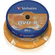 25 x VERBATIM DVD-R DVDR DISCS, 4.7GB, 120MINS, 16X SPEED 43522