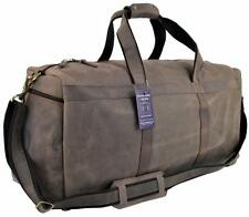 "24""x12x9 Mens Vtg Mens Genuine Buffalo Leather Duffel Carry On Weekender Bag"