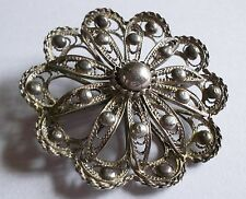 VINTAGE 1950S SILVER FILIGREE FLOWER BROOCH