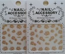 Nail Stickers Metallic Decal #284x2 Sale TJ001 Transfer Gold Pink