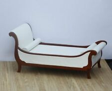 Dollhouse Miniature Art Deco Chaise Style Bed in Real White Leather