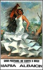 Maria Albaicin Spanish Flamenco Dancer Vintage Poster Art Print Madrid Spain