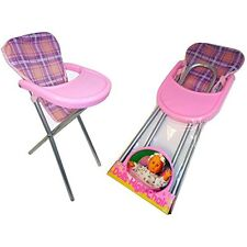 GIRLS DOLLS FEEDING RESTING PINK TARTANT BACK FOLDING HIGH CHAIR TOY