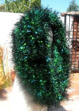 HAND CREATED GREEN BLUE & BLACK FUZZY YARN COWL NECK SCARF FREE SHIPPING !